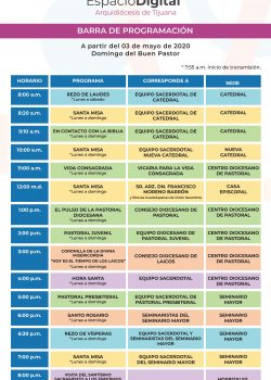 'Espacio Digital – Arquidiócesis de Tijuana' Barra de programación