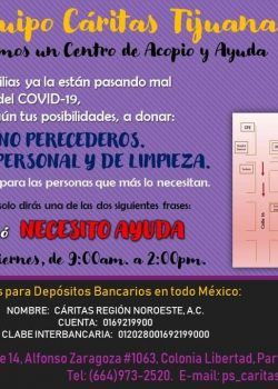 CÁRITAS-TIJUANA, nos invita a sumarnos a su Centro de Acopio y Ayuda.